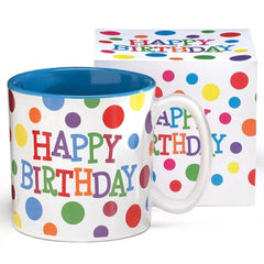 Happy Birthday Brightly Colored Polka Dots Ceramic Mugs - 6 Pack