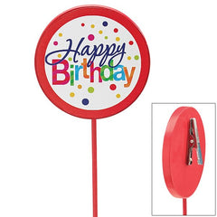 Happy Birthday Polka-Dots Wood Picks with Clip - 6 pack