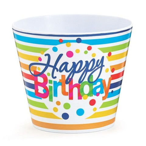 Picture of Happy Birthday Stripes Melamine Pot Cover - 6 Pack