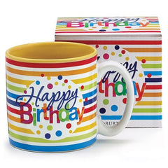 Happy Birthday Stripes Polka-Dots Ceramic Mugs - 6 Pack