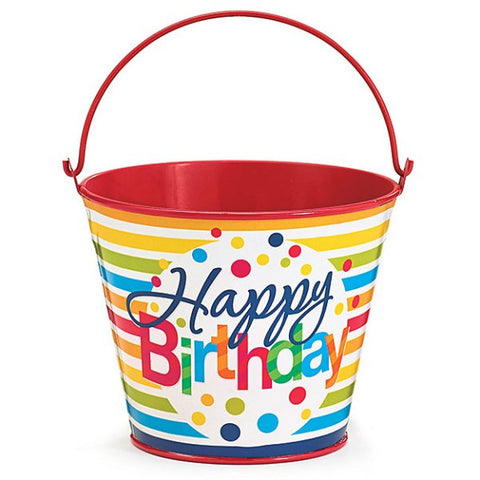 Picture of Happy Birthday Stripes Polka-Dots Gift Tin Pail