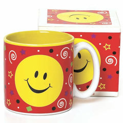 Happy Smiley Face Party 13 oz. Ceramic Mugs - 6 Pack