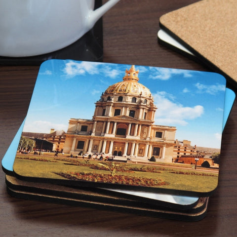 Picture of Hardboard Cork Back Square Photo Coaster Set with Coaster Holder