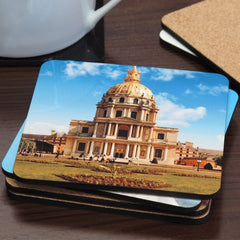 Hardboard Cork Back Square Photo Coaster Set with Coaster Holder