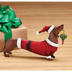 Holiday Christmas Santa Dachshund Dog Tin Figurine