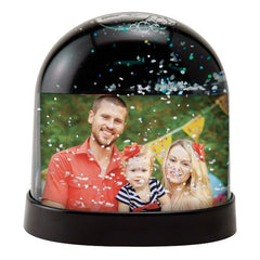 Horizontal Photo Snow Globe with Black Back