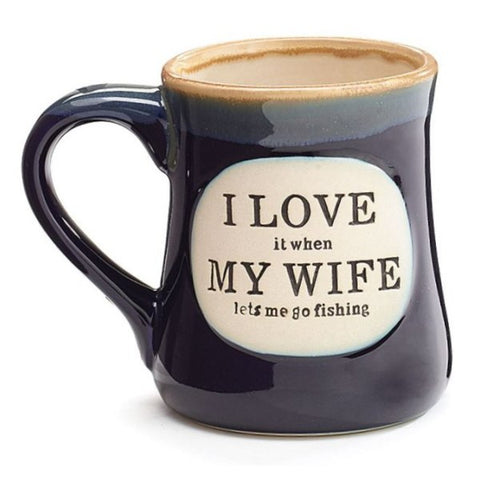 "Picture of ""I Love My Wife"" Dark Blue 18 oz. Fishing Coffee Mug"