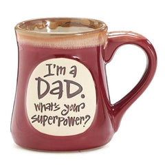 """I'm a Dad, What's Your SuperPower?"" Burgundy 18 oz. Coffee Mugs - 4 Pack"