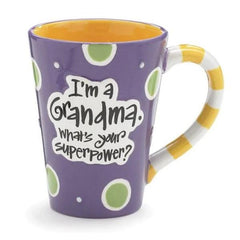 """I'm a Grandma, What's Your SuperPower?"" 12 oz. Coffee Mugs - 4 Pack"