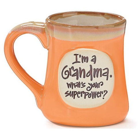 "Picture of ""I'm a Grandma, What's Your SuperPower?"" Peachy Orange 18 oz. Coffee Mug"