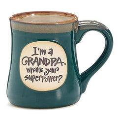 """I'm a Grandpa, What's Your SuperPower?"" Dark Blue 18 oz. Coffee Mugs - 4 Pack"