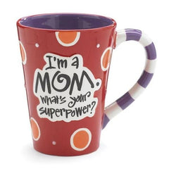 """I'm a Mom, What's Your SuperPower?"" 12 oz. Coffee Mugs - 4 Pack"