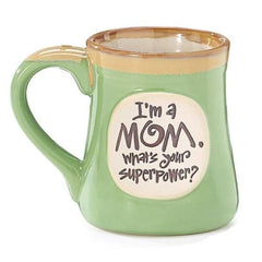 """I'm a Mom, What's Your SuperPower?"" Lime Green 18 oz. Coffee Mugs - 4 Pack"