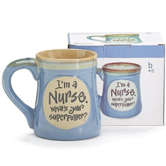 """I'm a Nurse, What's Your SuperPower?"" Light Blue 18 oz. Coffee Mugs - 4 Pack"