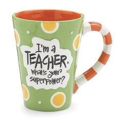 """I'm a Teacher, What's Your SuperPower?"" 12 oz. Coffee Mugs - 4 Pack"