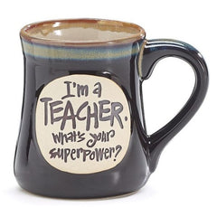 """I'm a Teacher, What's Your SuperPower?"" Deep Black 18 oz. Coffee Mugs - 4 Pack"