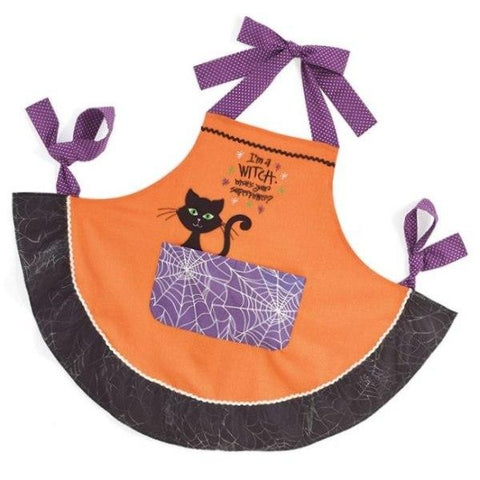 "Picture of ""I'm a WITCH. What's your superpower?"" Orange Halloween Apron"