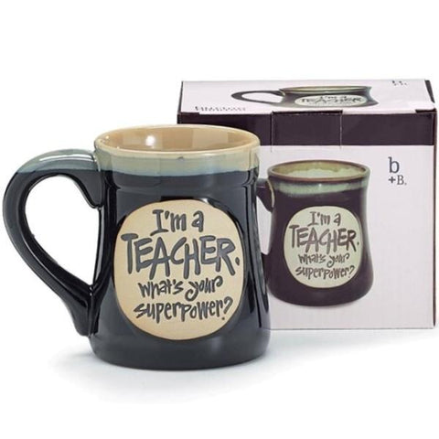 "Picture of ""I'm a Teacher, What's Your SuperPower?"" Deep Black 18 oz. Coffee Mug"