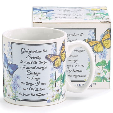 Picture of Inspirational Serenity Prayer Mug with Butterflies and Flowers Design