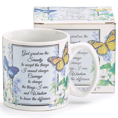 Inspirational Serenity Prayer Mug with Butterflies and Flowers Design