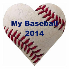 Baseball Hardboard Heart Puzzle with 23 Pieces
