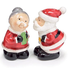 Kissing Santa Mrs Claus Salt and Pepper Shaker Set - Pack of 4 Sets