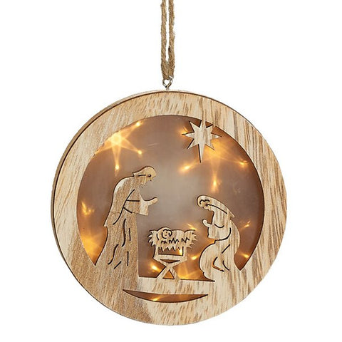 Picture of LED Round Lightbox Nativity Scene Wood Ornaments - 8 Pack