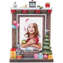 Light Up Fireplace Christmas Resin Picture Frame
