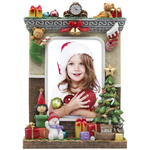 Picture of Light Up Hearth Christmas Resin Picture Frame