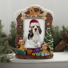 Light Up Paws with Claus Resin Picture Frame