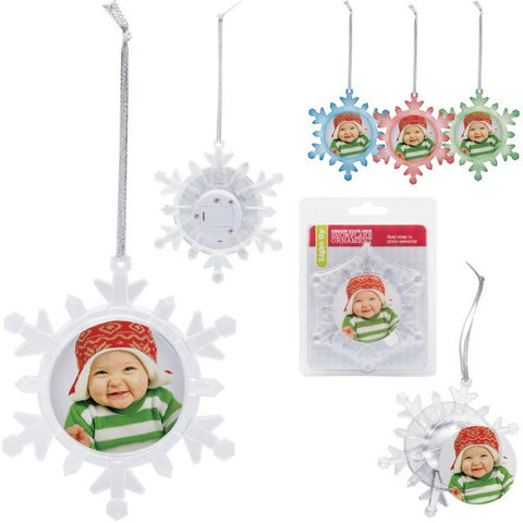 Picture of Light Up Snowflake Photo Ornaments - 6 Pack