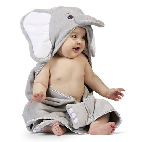 Picture of Lil' Spout Gray Elephant Baby Bath Hooded Towel