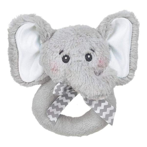 Picture of Lil' Spout Gray Elephant Plush Ring Rattles - 6 Pack