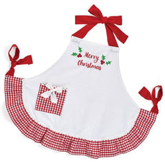 Merry Christmas Gingham Ruffle Apron