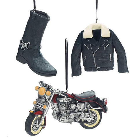 Picture of 3 Piece Motorcycle Biker Theme Hanging Ornament Set