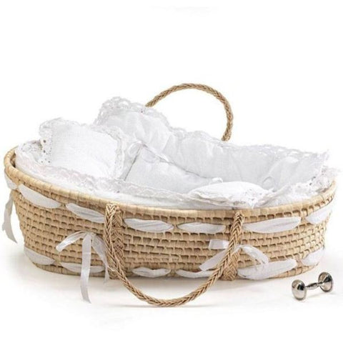 Picture of Natural Moses Basket with White Beding