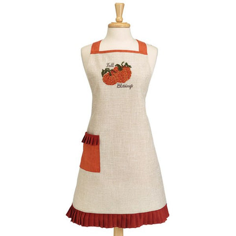 Picture of Natural Linen Apron with Pumpkins