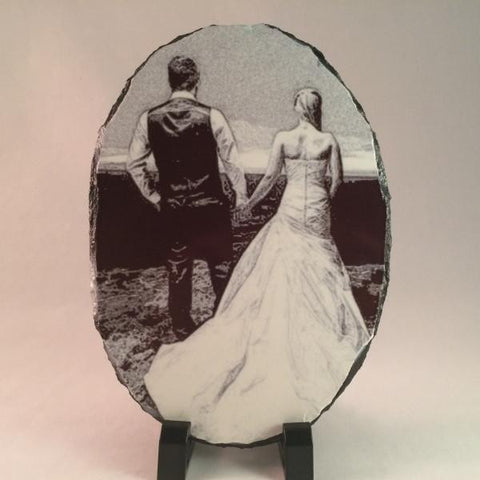 Picture of Photo Pencil Drawing on Oval Stone Slates