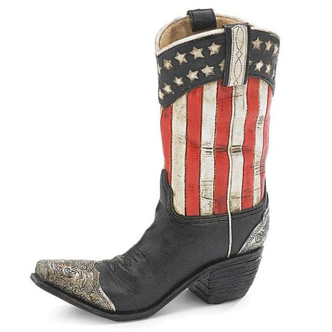 Picture of Patriotic Cowboy Boot Resin Vase