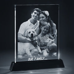 2D Photo Flat Crystal with LED Light Base