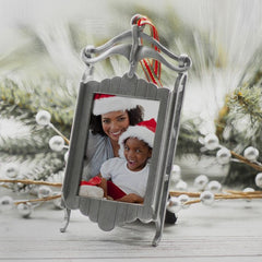 Pewter Sled Photo Ornament Frame