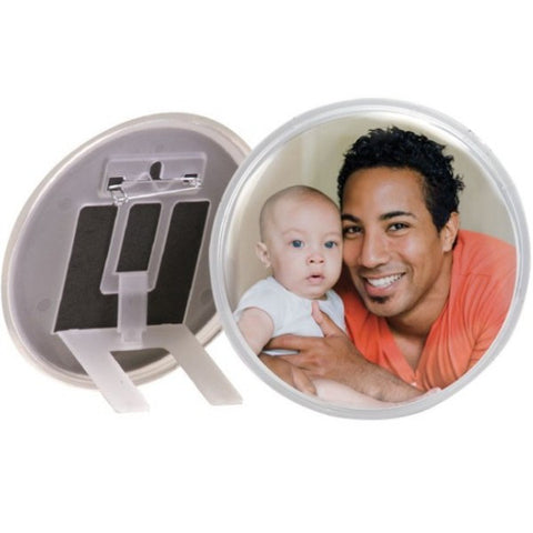 Picture of Pin Back Snap-in Photo Button and Round Picture Frame in One - 12 Pack