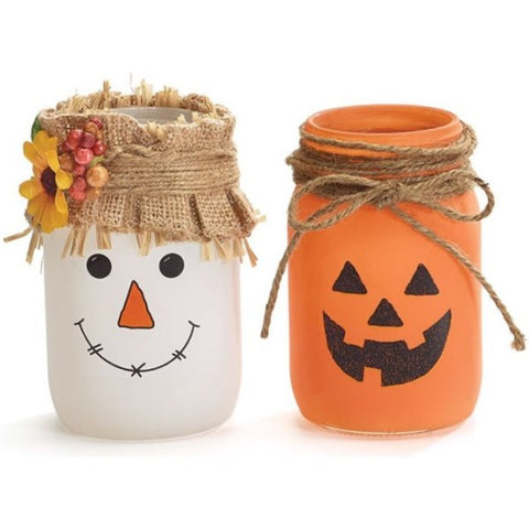 Picture of Pint Mason Jars Scarecrow and Jack-O-Lantern