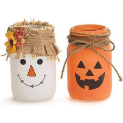 Pint Mason Jars Scarecrow and Jack-O-Lantern