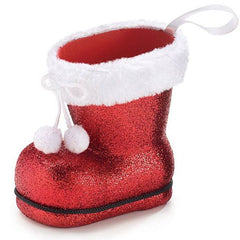 Plastic Glitter/Fur Santa Boot Vases - Pack of Dozen