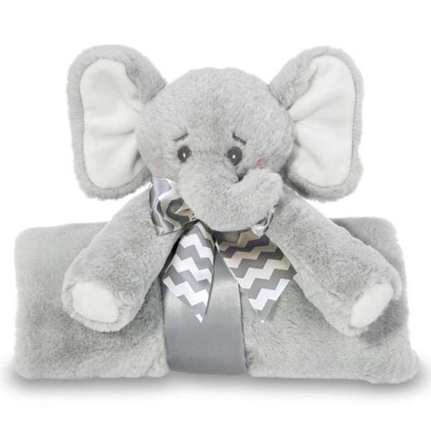 Picture of Plush Stuffed Animal Large Security Blanket Cuddle Me Spout Gray Elephant Blanket
