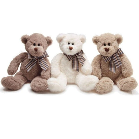 Picture of Plush Bear Trio with Checked Bow - Pack of 2 Trio Sets