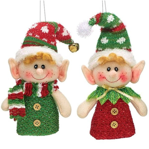 Picture of Plush Hanging Ornament Elves - 2 Piece Set