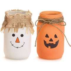 Quart Mason Jars Scarecrow and Jack-O-Lantern