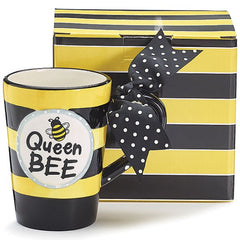 "Whimsical ""Queen Bee"" 13 oz. Ceramic Coffee Mug - 4 Pack"